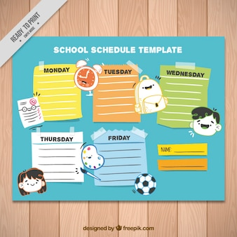 School schedule template with icons and different colors