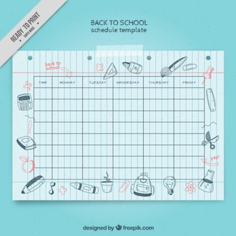 School schedule with drawings for back to school
