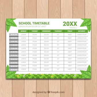 School schedule with leaves