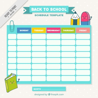 School schedule with nice drawings