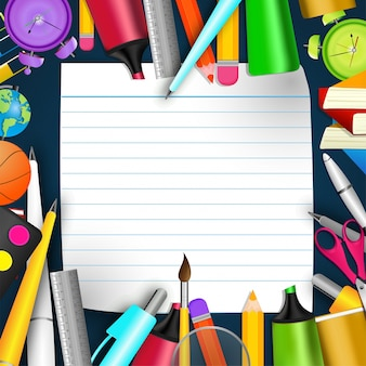 School Stationery and Blank� Notebook Paper, Back to School Concept