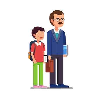 彼の息子または学生と立っている学校の先生