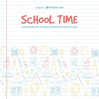 School time background with school elements