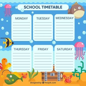 学校の時刻表と動物