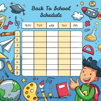 School timetable template comic style