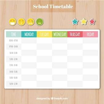School timetable template with smilies and stars