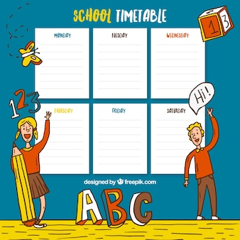 School timetable with hand drawn children and school elements