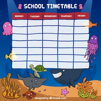 school timetable with marine animals