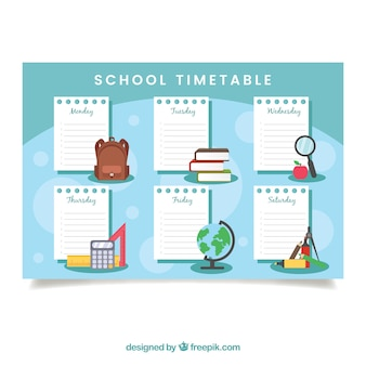 School timetable with notebook pages