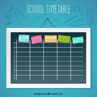 School timetable with post-it