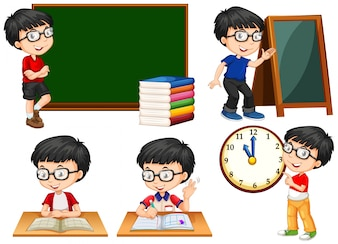 Schoolboy doing different actions at school illustration