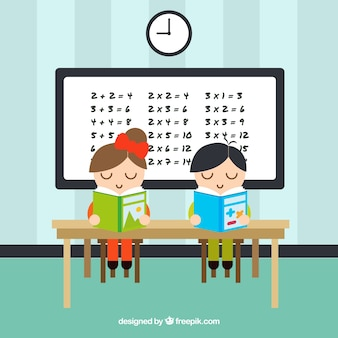 Schoolchildren studying