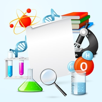 Science background with colorful items