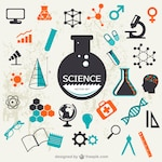 Science elements with test tubes and molecules