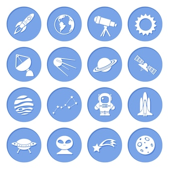 Science fiction blue icons