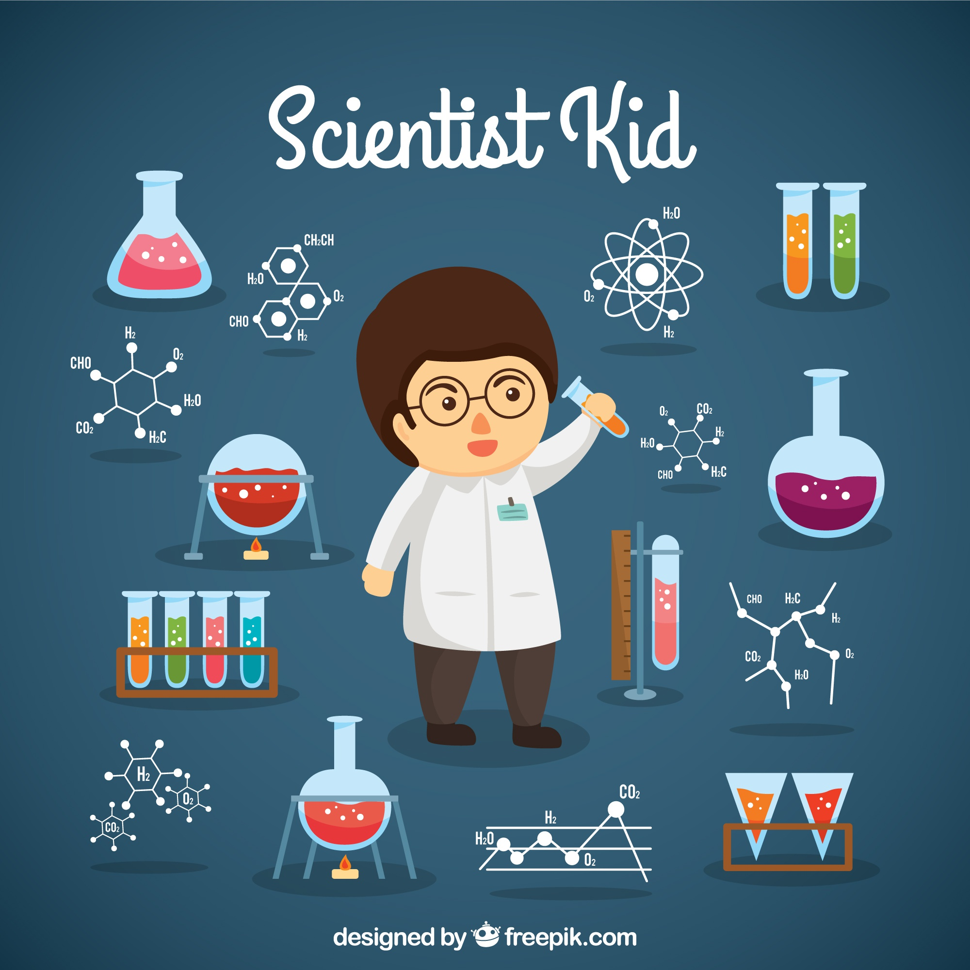 Scientist boy with lab objects