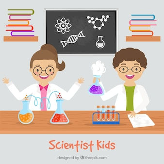 Scientist children in the laboratory in flat design