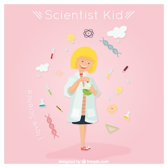Scientist girl with laboratory accessories