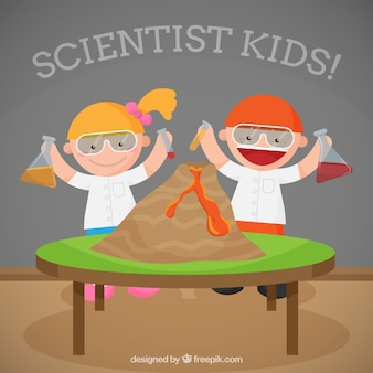 Scientist kids with a volcano
