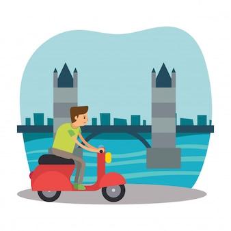 Scooter rider travel london bridge england cartoon character