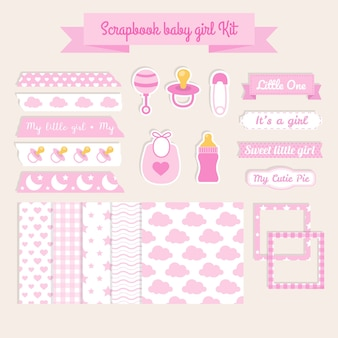 Scrapbook elements baby girl kit