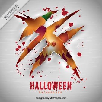 Scratch background with halloween pumpkin
