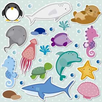 Морские животные коллекция