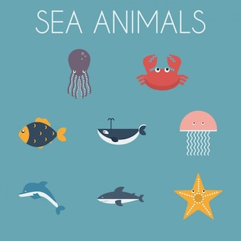 Sea animals icons collection