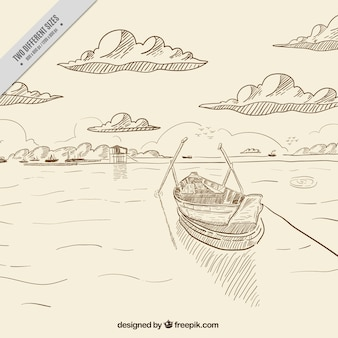 Sea background with hand drawn boat