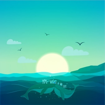 Sea background with loving whales