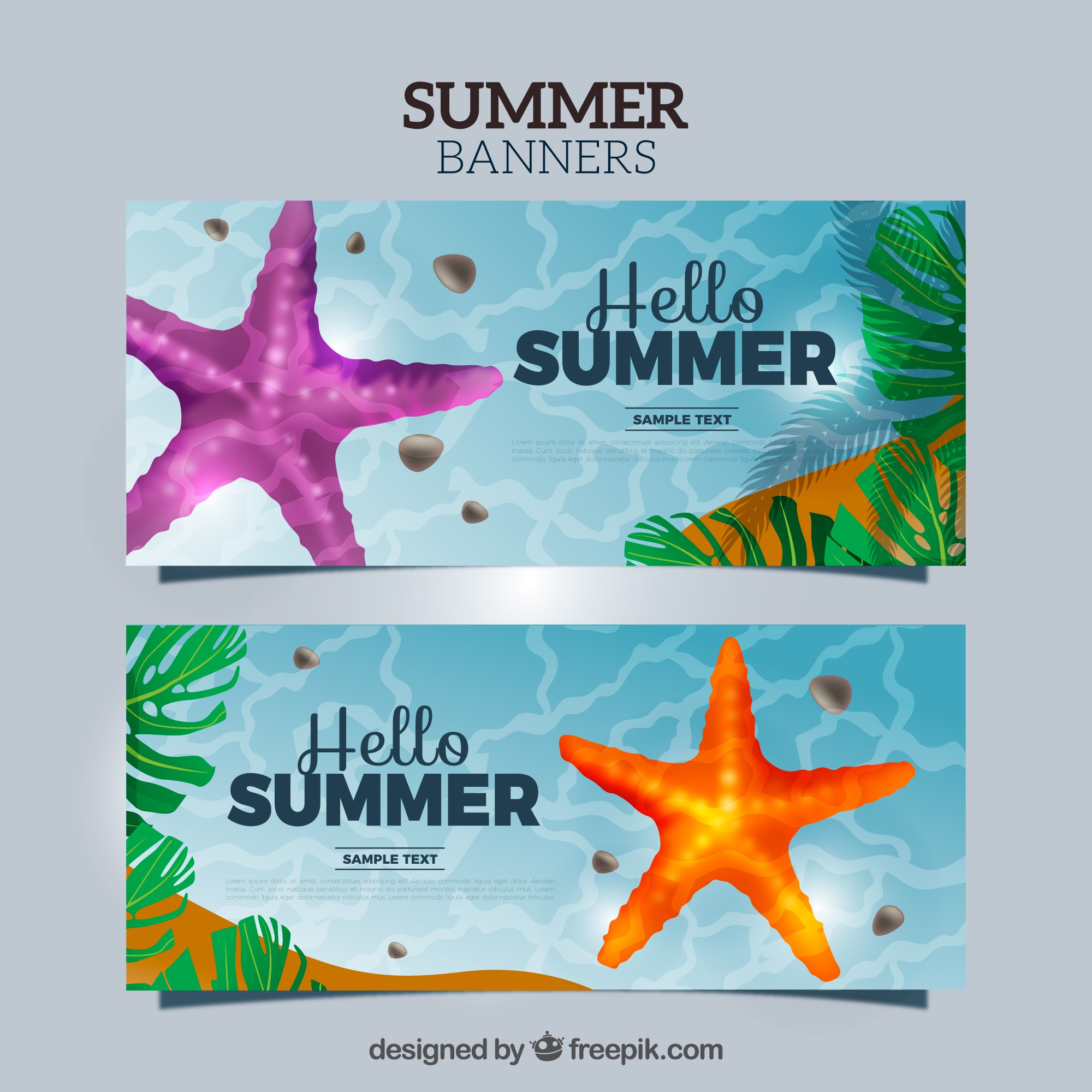 Sea banners with starfish and palm leaves