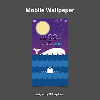 Sea mobile wallpaper with whale in flat design