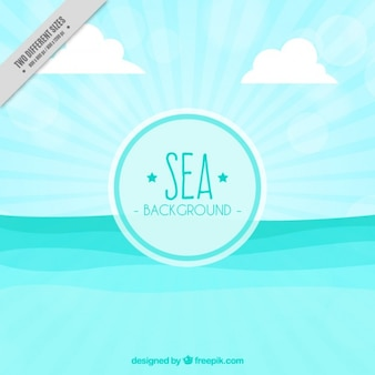 Sea with waves background in flat design
