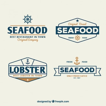 Seafood badges set