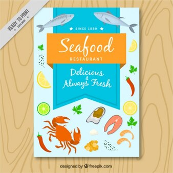 Seafood brochure with drawings