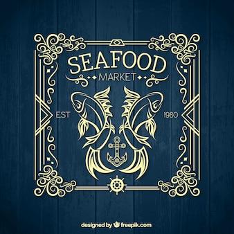 Seafood market insignia on wood