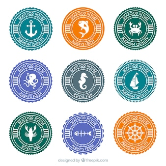 Seafood round badges