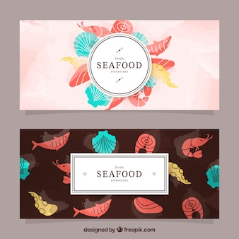Seafood watercolor banners