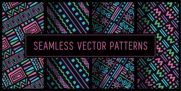 Seamless 90s surf pattern set
