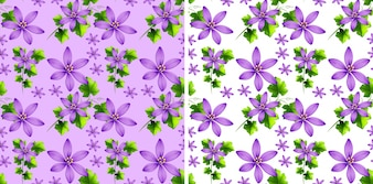 Seamless background design with purple flowers