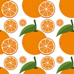 Seamless background template with fresh oranges