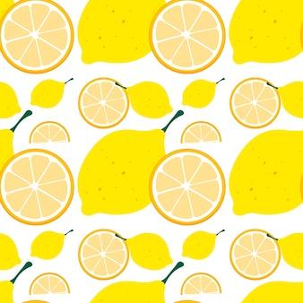 黄色のレモンとシームレスな背景