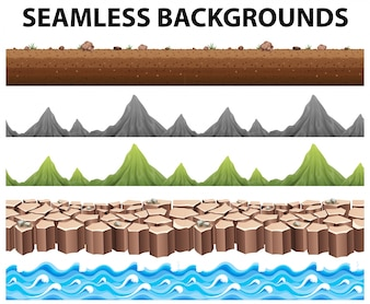 Seamless backgrounds with mountains and ocean