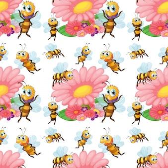 Бесшовные пчелы, летящие вокруг цветов