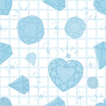 Seamless blue diamond pattern on white background