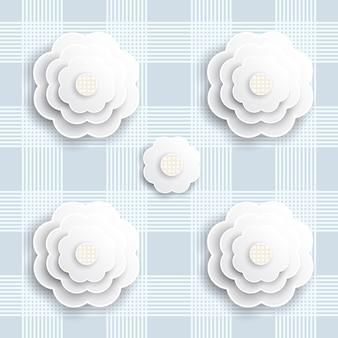 Seamless blue paper flower on blue stripe pattern background