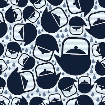シームレスなブルーティーポットのパターンの背景