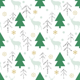 Seamless christmas glitter pattern background with pine tree , reindeer and snowflake