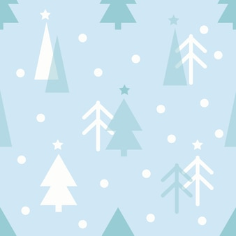 Seamless christmas pattern with pine tree on blue background