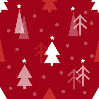 Seamless christmas pattern with pine tree on red background